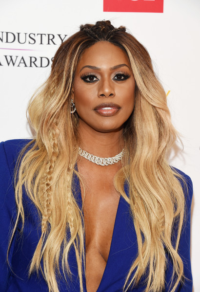 Laverne Cox Long Partially Braided [hair,hairstyle,face,blond,eyebrow,long hair,brown hair,beauty,hair coloring,lip,arrivals,laverne cox,sofitel los angeles,california,beverly hills,creative coalition,television industry advocacy awards]