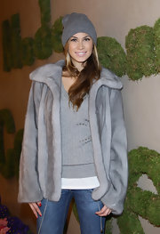 Melissa did grunge glamour in a gray beanie and matching fur coat.