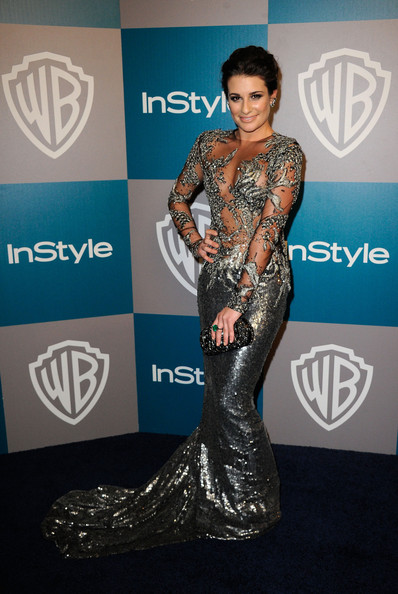 Lea Michele Box Clutch [red carpet,carpet,fashion,flooring,dress,event,premiere,performance,fashion accessory,award,lea michele,instyle golden globe awards,hotel,beverly hills,california,the beverly hilton,warner bros,arrivals,party]