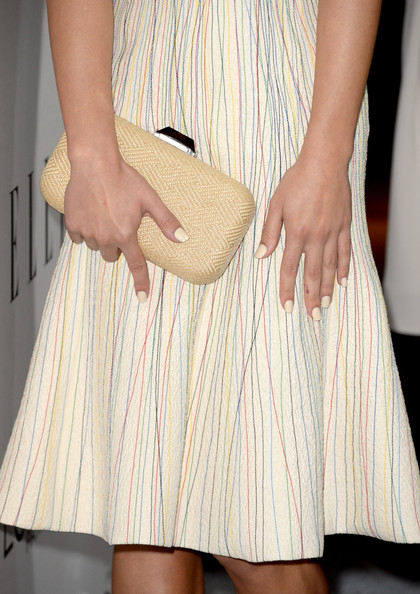 Lea Michele Hard Case Clutch [clothing,dress,beige,fashion,yellow,leg,blond,waist,footwear,hand,lea michele,20th annual women in hollywood celebration - arrivals,fashion detail,beverly hills,california,four seasons hotel,los angeles,elle,20th annual women in hollywood celebration]