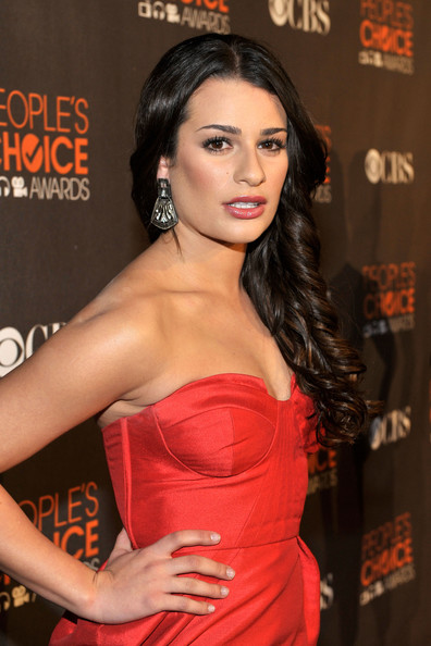 Lea Michele Sterling Dangle Earrings [hair,clothing,hairstyle,dress,shoulder,strapless dress,premiere,beauty,long hair,lip,lea michele,peoples choice awards,california,los angeles,nokia theatre l.a. live,red carpet]