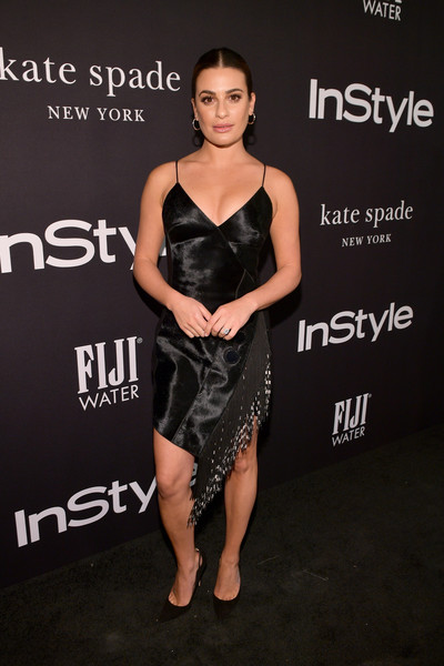 Lea Michele Fringed Dress [red carpet,clothing,dress,cocktail dress,fashion model,little black dress,shoulder,fashion,hairstyle,premiere,joint,lea michele,instyle awards,the getty center,los angeles,california]