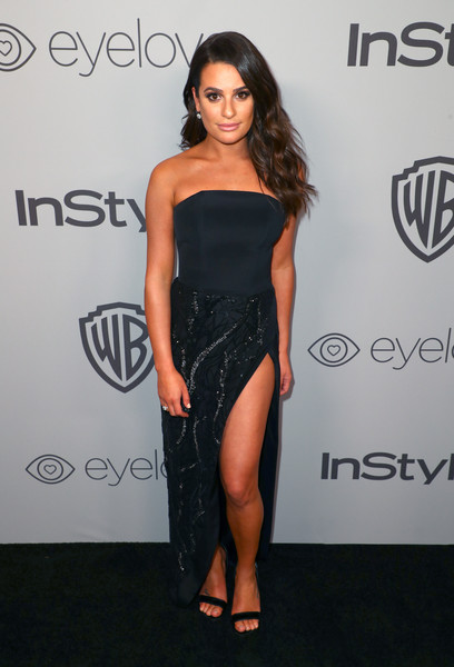 Lea Michele Strapless Dress [fashion model,little black dress,flooring,shoulder,dress,joint,cocktail dress,fashion,long hair,carpet,lea michele,beverly hills,california,the beverly hilton hotel,instyle,red carpet,warner bros. 75th annual golden globe awards,warner bros. 75th annual golden globe awards post-party]