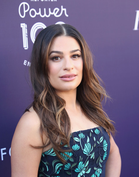 Lea Michele Long Center Part [red carpet,the hollywood reporter,hair,face,hairstyle,eyebrow,beauty,chin,long hair,skin,brown hair,lip,women in entertainment breakfast,lea michele,california,los angeles,hollywood reporter,milk studios,women in entertainment breakfast]