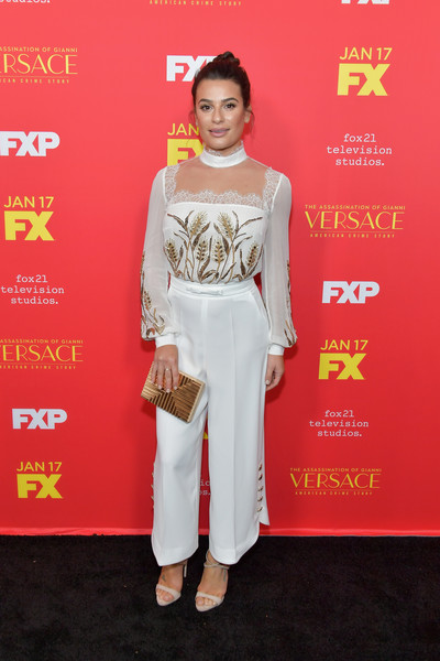 Lea Michele Jumpsuit [the assassination of gianni versace: american crime story,red carpet,clothing,white,carpet,red,flooring,fashion model,dress,formal wear,premiere,lea michele,arrivals,fx,arclight hollywood,california,premiere,premiere]
