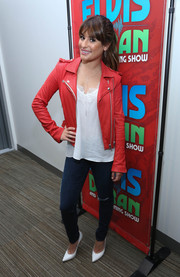 Lea Michele rocked a moto-chic red leather jacket during her visit to the 'Elvis Duran Z100 Morning Show.'