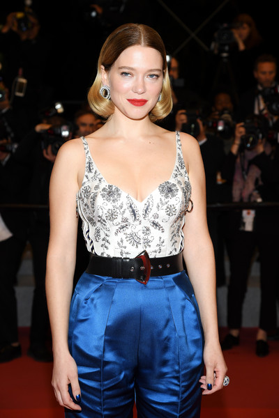Lea Seydoux Oversized Belt [clothing,hairstyle,fashion,premiere,beauty,fashion model,red carpet,carpet,flooring,lip,une lumiere,lea seydoux,screening,une lumiere,roubaix,cannes,france,oh mercy,red carpet,the 72nd annual cannes film festival]