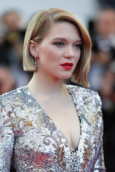 Lea Seydoux Dangling Diamond Earrings [the man who killed don quixote,hair,beauty,blond,human hair color,hairstyle,fashion model,lady,eyebrow,girl,fashion,red carpet arrivals,lea seydoux,screening,cannes,france,closing ceremony,cannes film festival,palais des festivals]