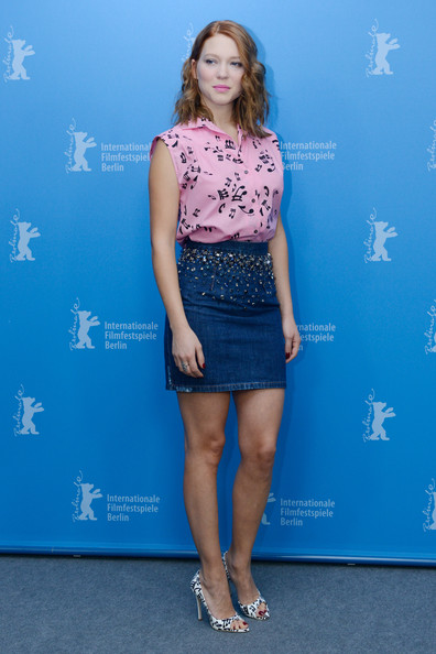 Lea Seydoux Denim Skirt [la belle et la bete,clothing,blue,fashion,cobalt blue,electric blue,dress,footwear,premiere,fashion model,long hair,lea seydoux,photocall,grand hyatt hotel,berlin,germany,photocall - 64th berlinale international film festival]
