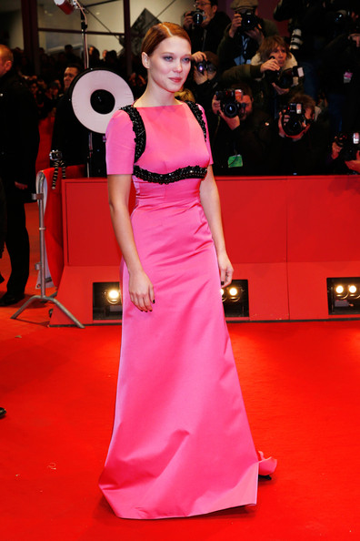 Lea Seydoux Evening Dress [red carpet,dress,fashion model,carpet,clothing,shoulder,flooring,gown,pink,red,lea seydoux,berlinale palast,berlin,grand budapest hotel,germany,the grand budapest hotel premiere,berlinale international film festival]