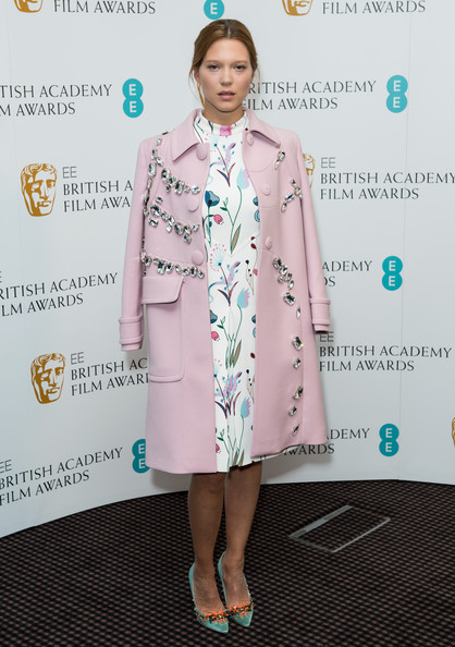 Lea Seydoux Evening Coat [clothing,fashion,trench coat,coat,pink,fashion design,outerwear,dress,footwear,street fashion,ee rising star,lea seydoux,ee rising star award,nominations photocall,photocall,award,london,england,bafta]