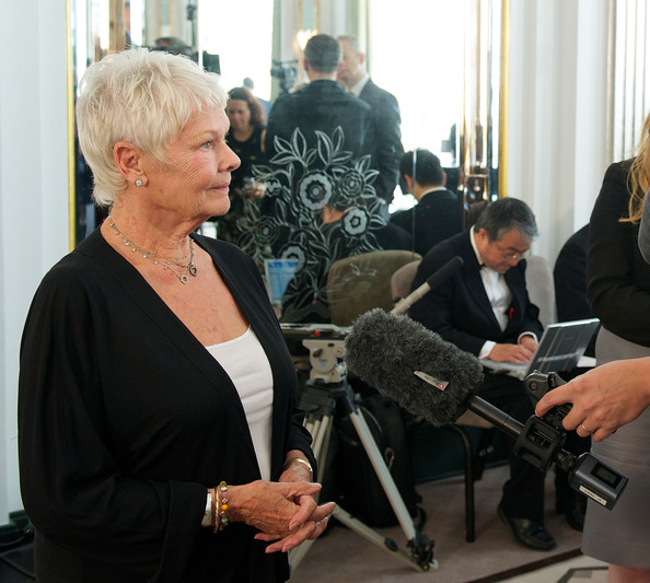 More Pics of Judi Dench Diamond Studs (1 of 27) - Judi Dench Lookbook - StyleBistro [event,design,conversation,judi dench,prince takamatsu,most valuable arts prize,praemium imperiale awards,honour,japan,england,london,claridges hotel,uk artists win world]