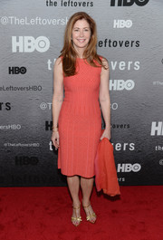 Dana Delany attended the premiere of 'The Leftovers' wearing a figure-hugging patterned pink dress.
