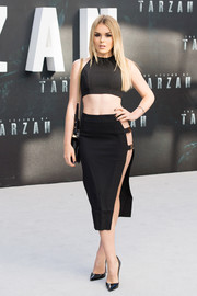 Tallia Storm looked racy in a skin-revealing pencil skirt by PrettyLittleThing at the European premiere of 'The Legend of Tarzan.'