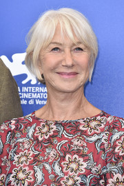 Helen Mirren kept it casual with this short cut with wispy bangs at the Venice Film Festival photocall for 'The Leisure Seeker.'