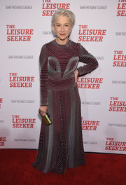 Helen Mirren looked supremely elegant in an artfully beaded maroon gown by Valentino at the New York screening of 'The Leisure Seeker.'