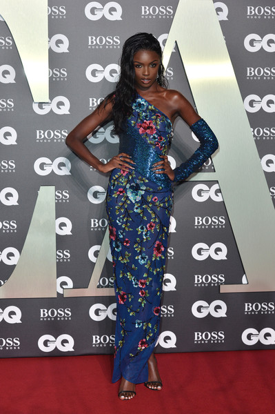 Leomie Anderson One Shoulder Dress [red carpet,carpet,clothing,dress,hairstyle,flooring,fashion,shoulder,premiere,fashion model,red carpet arrivals,leomie anderson,gq men of the year awards,england,london,tate modern]