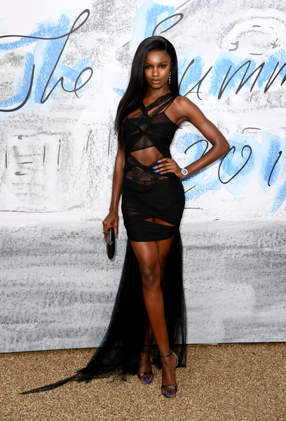 Leomie Anderson Evening Sandals [clothing,beauty,fashion,long hair,dress,model,leg,black hair,little black dress,electric blue,serpentine galleries,chanel,summer party,red carpet arrivals,the serpentine gallery,england,london,the summer party,leomie anderson]