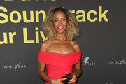 Leona Lewis Off-the-Shoulder Dress