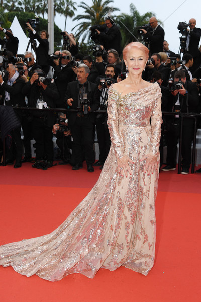 Helen Mirren made a grand entrance in a gold sequined gown by Elie Saab Couture at the 2019 Cannes Film Festival screening of 'Les Plus Belles Années d'une vie.'