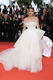 Priyanka Chopra was a dream in a tiered, strapless white ballgown by Georges Hobeika at the 2019 Cannes Film Festival screening of 'Les Plus Belles Années d'une vie.'
