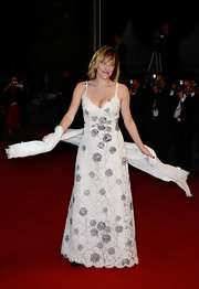 Valeria Bruni-Tedeschi chose a white lace dress with silver floral prints for her look at the premiere of 'Les Salauds.'