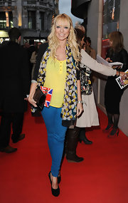 Liz Mcclarnon pulled her look together with a pair of black platform pumps.