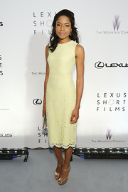 Naomie Harris looked ready for summer in this lemon-colored sleeveless lace frock.