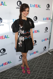 Shiri Appleby looked darling in a floral-embroidered mini dress with puffed sleeves at the 'UnREAL' Emmy FYC screening.
