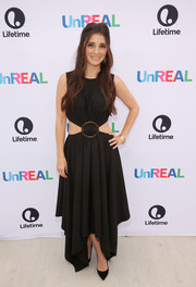 Shiri Appleby looked foxy in a black handkerchief-hem cutout dress at the 'UnREAL' group date and champagne brunch.