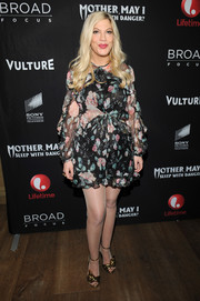 Tori Spelling donned a floaty floral romper by Zimmermann for the screening of 'Mother, May I Sleep With Danger?'