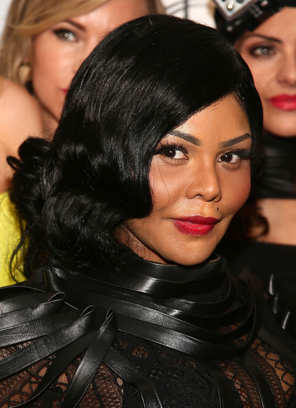 Lil Kim Red Lipstick [photos,hair,face,black hair,hairstyle,eyebrow,lip,beauty,eye,eyelash,long hair,lil kim,fashion,reality,reality of aids,the reality of aids - backstage,altman building,new york city,mercedes-benz fashion week,fashion show]