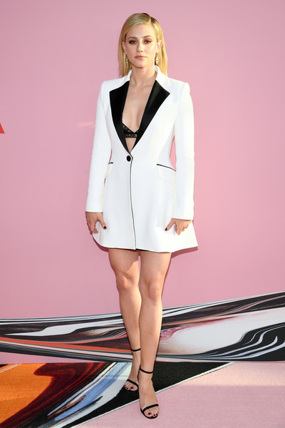Lili Reinhart Tuxedo Dress [clothing,white,fashion,fashion model,beauty,pink,blazer,outerwear,leg,blond,arrivals,lili reinhart,cfda fashion awards,brooklyn museum of art,new york city]