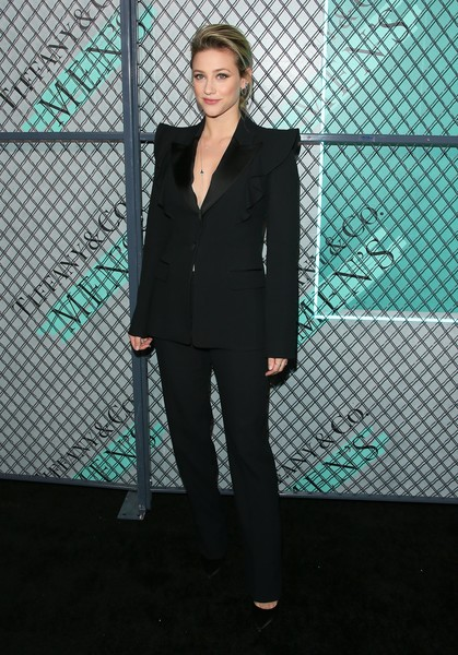 Lili Reinhart Pantsuit [clothing,suit,pantsuit,fashion,formal wear,outerwear,blazer,tuxedo,haute couture,photo shoot,launch of new tiffany mens collections,new tiffany mens collections,lily reinhart,california,los angeles,hollywood athletic club,tiffany co,launch]