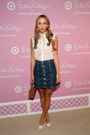 Harley Viera-Newton attended the Lilly Pulitzer for Target launch wearing a casual sleeveless button-down with a colorful print scarf.