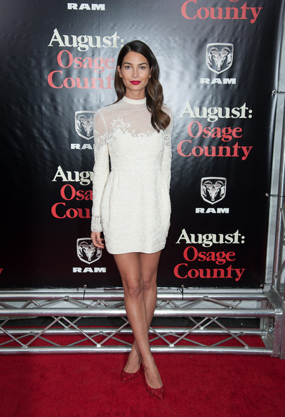 Lily Aldridge Mini Dress [august: osage county,clothing,premiere,dress,red,red carpet,cocktail dress,fashion,carpet,shoulder,leg,red carpet,lily aldridge,new york,ziegfeld theater,premiere]