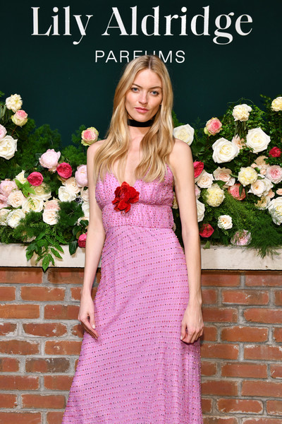 More Pics of Martha Hunt Sundress (1 of 9) - Sundress Lookbook - StyleBistro [photo,dress,clothing,pink,lady,beauty,shoulder,fashion,blond,formal wear,spring,martha hunt,lily aldridge,the bowery terrace,new york city,bowery hotel,lily aldridge parfums launch event,launch event]