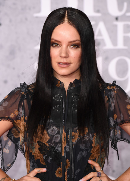 Lily Allen Long Straight Cut [hair,face,black hair,hairstyle,long hair,beauty,fashion,layered hair,leather,brown hair,red carpet arrivals,lily allen,brit awards,london,england,the o2 arena]