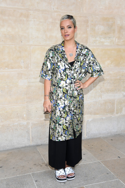 Lily Allen Slide Sandals Are The Summer Footwear Trend We Can't Get Enough Of [clothing,fashion,street fashion,dress,outerwear,costume,pattern,sleeve,fashion design,style,summer 2018,lily allen,front row,spring,part,paris,louis vuitton,menswear spring,paris fashion week,show]