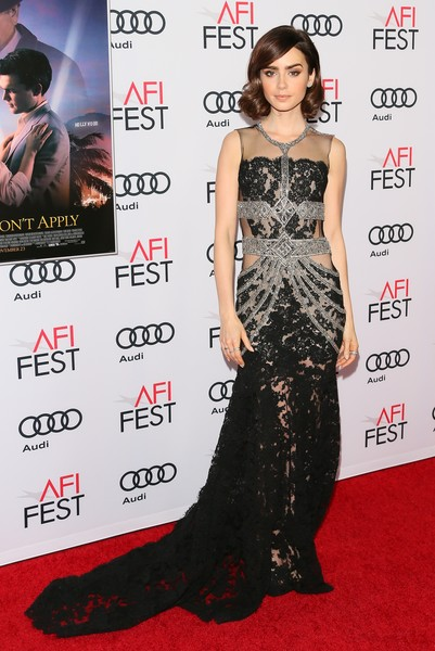 Lily Collins Lace Dress