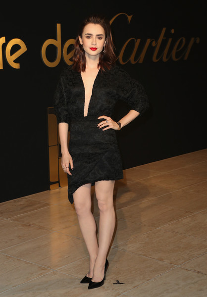 Lily Collins Little Black Dress