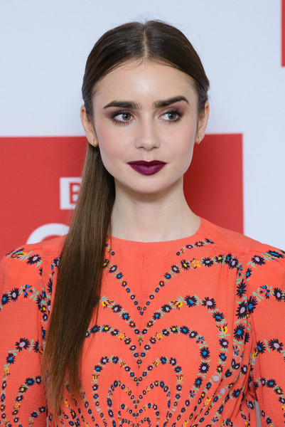 Lily Collins Berry Lipstick [les miserables,hair,face,hairstyle,lip,eyebrow,beauty,orange,skin,fashion,fashion model,lily collins,photocall,photocall,england,london,bbc one,bafta]