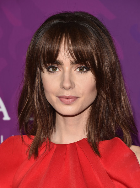 Lily Collins Medium Straight Cut with Bangs