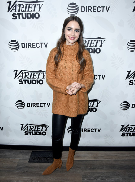 Lily Collins Turtleneck [extremely wicked shockingly evil and vile,voltage pictures,clothing,footwear,fur,fashion,outerwear,joint,shoe,textile,street fashion,long hair,lily collins,directv lodge,utah,at t,party,party,vile\u00e2,sundance film festival]