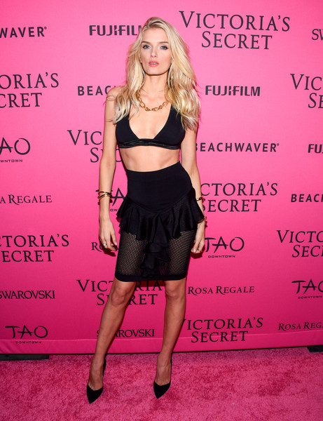 Lily Donaldson Bra [clothing,pink,fashion,dress,premiere,carpet,blond,crop top,flooring,waist,carpet arrivals,lily donaldson,new york city,tao downtown,victorias secret fashion after party]