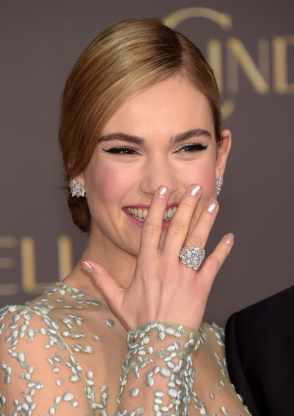 Lily James Diamond Studs [hair,face,eyebrow,beauty,hairstyle,lip,blond,chin,lady,nail,arrivals,lily james,cinderella,california,hollywood,el capitan theatre,disney,premiere,premiere]