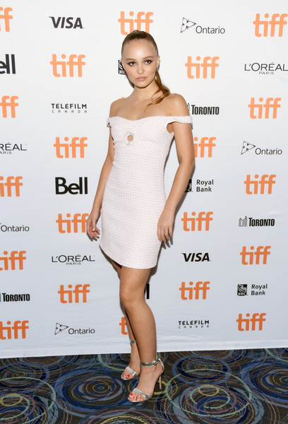 Lily-Rose Depp Off-the-Shoulder Dress [clothing,dress,cocktail dress,fashion model,shoulder,footwear,hairstyle,premiere,fashion,joint,toronto,canada,scotiabank theatre,toronto international film festival,premiere,premiere,a faithful man,lily-rose depp]