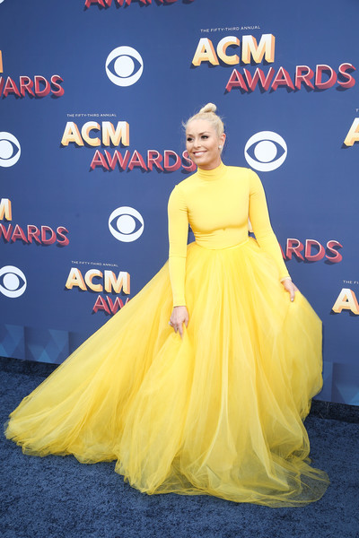 Lindsey Vonn Princess Gown [country music,yellow,dress,flooring,shoulder,gown,carpet,joint,red carpet,cocktail dress,fashion design,arrivals,lindsey vonn,dress,celebrity,flooring,shoulder,las vegas,nevada,academy of country music awards,lindsey vonn,53rd academy of country music awards,academy of country music awards,academy of country music,51st academy of country music awards,red carpet,united states of america,celebrity,country music]