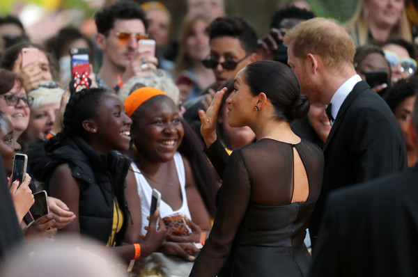 More Pics of Meghan Markle Diamond Studs (3 of 22) - Earring Studs Lookbook - StyleBistro [the lion king,people,crowd,event,community,youth,audience,ceremony,wellwishers,harry,meghan,european,sussex,duchess,red carpet arrivals,duke of sussex,premiere]