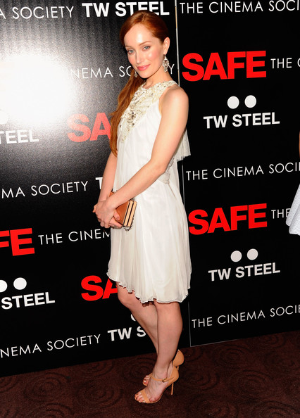 Lotte Verbeek looked angelic in this layered white silk dress at the premiere of 'Safe' in NYC.